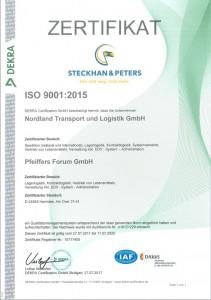 Zertifikat ISO 9001-2015 Pfeiffers Nordland